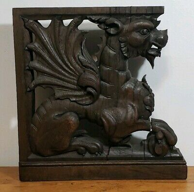 Antique 19th C. French Carved Wood Griffin Corbel Gothic Winged Lion Dragon