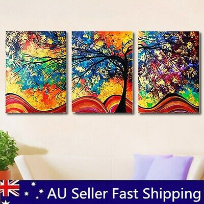 3PCS HD Framed Colorful Tree Canvas Print Painting Picture Home Wall Art Decor