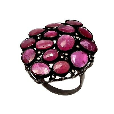 925 Sterling Silver Rose cut Diamond Red Ruby Victorian Black Ring R-313