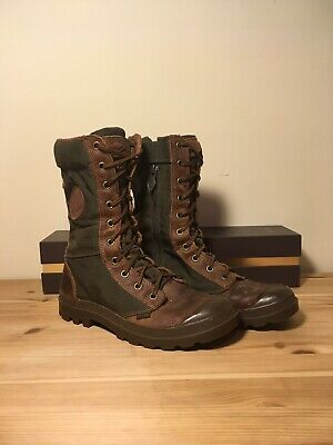 6baee67bef7 PALLADIUM PAMPA TACTICAL Women's Combat Boots 6.5 Army Olive Green Brown  Leather