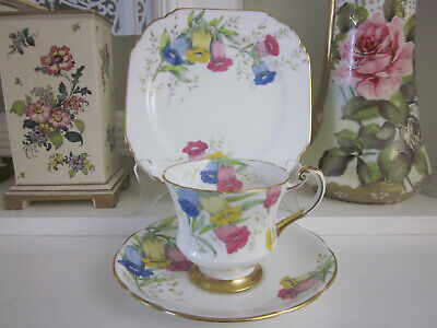 Gorgeous Rare Paragon Canterbury Bell Fine Bone China Trio