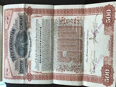 Scripophily - Troy Manhattan Copper Co. , 1905 $500 Gold Bond-#386-Not Issued