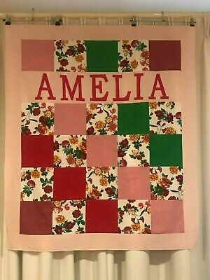 Personalised Pretty Floral Patchwork Baby Girls Cot Quilt Set - Any name -