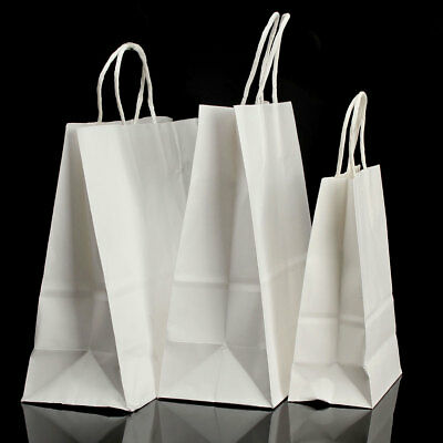 2/5/10/50 White Kraft Twisted Handle Paper Shop Carrier Bags TAKEAWAY FOOD