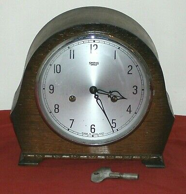Antique Smiths 2 Hole Chiming Mantle Clock In Good Working Condition With Key