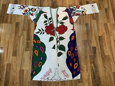 "MAGNIFICENT UZBEK SILK EMBROIDERED ROBE CHAPAN /""BIRD IN OTTOMAN STYLE/"" V1262"