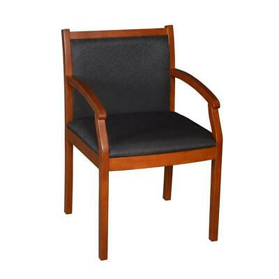 Regency Fabric Regent Wood and Fabric Side Guest Chair in Cherry and Black