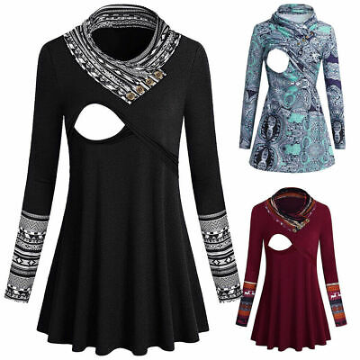 Women Pregnant Nursing Baby Long Sleeve Tops Slim Fit Maternity Blouse Pullovers