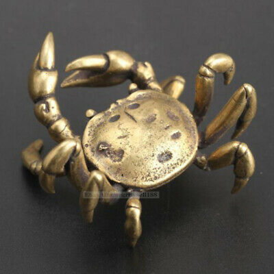 2in Chinese Vintage Copper Handmade crab statue Collectibles pure brass statue