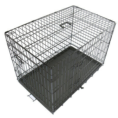 """30"""" Pet Dog Cage Puppy Foldable Training Carrier Crate Animal Transport Black"""