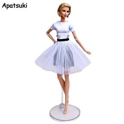 Fashion Clothes For Barbie Outfits Party Gown White Top Shirt Jeans Tutu Skirt