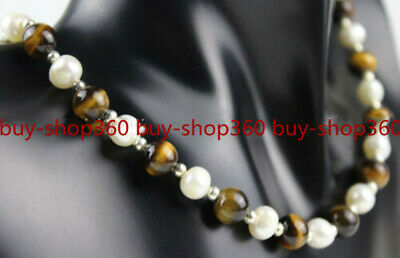 Natural 7-8mm White Pearl &8mm Yellow Tigers Eye Round Gemstone Necklace 20''AAA