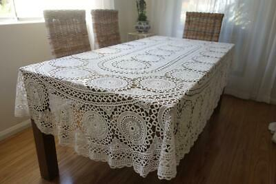 Ex Condition Large White Cotton Hand Crochet Oval Tablecloth 270cm x 170cm