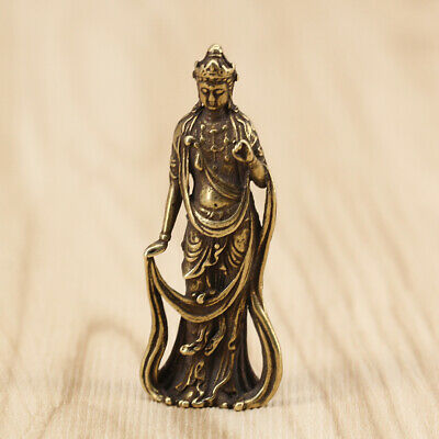 Bronze Pocket Statue Guanyin Bodhisattva of Chinese Old Collection Handwork