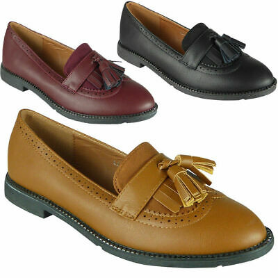 Ladies Tassle Loafers Womens Brogue Work Office School Flats Slip On Shoes Size