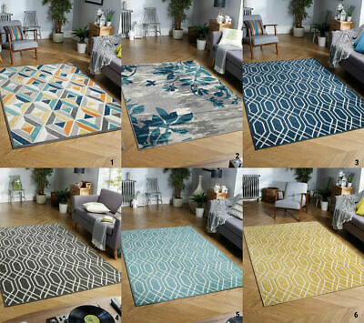 Modern Extra Large Indoor Outdoor Patio Multi Coloured 3D Ochre Yellow Grey Rugs