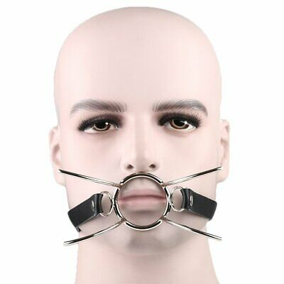 Faux Leather O-Ring Spider Open Mouth Steel Ring Gag Steel Harness AU