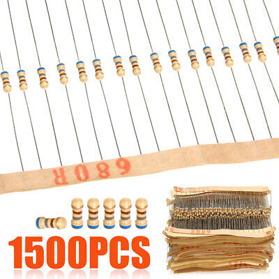 1500pcs 1/4W Carbon Film Resistors Assortment Kit 1 ohm~ 10M ohm 5% 75 Values