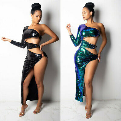 Asymmetry One Shoulder Hollow Out Glitter Sequined Sexy Women Skinny Club Dress