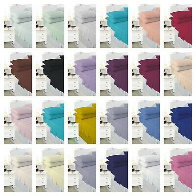 Poly Cotton Plain Dyed Percale Bed Flat Sheet Non Iron Single Double King S.King