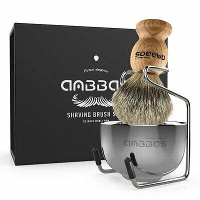 Anbbas Badger Hair Shaving Brush + Stainless Steel Shave Brush Stand and Bowl AU