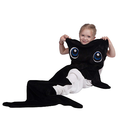 Whale Blanket for Kids,Teens,Orca Design Snuggie Tail Blanket,Ultra Soft Flannel