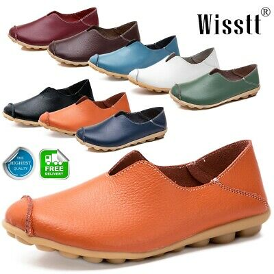 UK Womens Moccasin Lazy Shoes Slip On Loafers Strappy Flat Pumps Boat Shoes Size