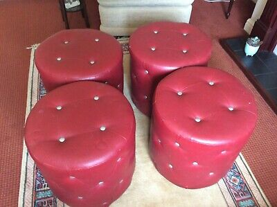 3 Vintage Retro red vinyl studded Foot Stool/Pouffe/Seat + 1 free slight damage