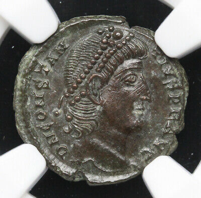 Constantius II, AD 337-361. AE4, NGC MS (Mint State)
