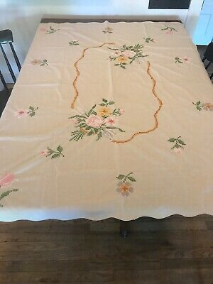 VTG Tablecloth 50x66 Hand Embroidery Cross Stitch Floral Flowers