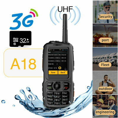 Unlocked Android Rugged Waterproof Smartphone UHF Walkie Talkie Dual SIM + 32GB