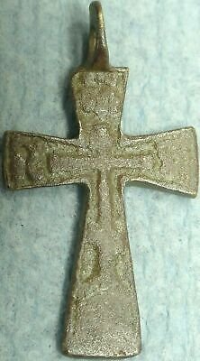 17Th - 18Th C. Imperial Russian Bronze Cross Pendant, Text  #17Ibc