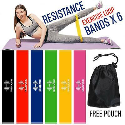 6 Resistance Bands Exercise Loop Crossfit Strength Weight Training Pull Up Band