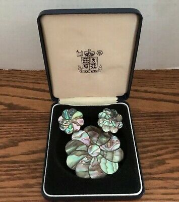Vintage Sterling Silver Abalone Brooche/Necklace and Earring Set 1920s.
