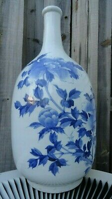 old vase porcelain chinese? japanese? blue flowers 19 inches for lamp? vintage