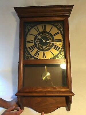 """Vintage Cornwall  Wooden Westminster Chime Battery Pendulum Wall Clock 30"""" Tall"""