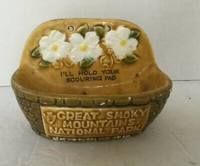 Great Smoky Mountains National Park Vintage Scouring Pad Holder Ceramic Souvenir