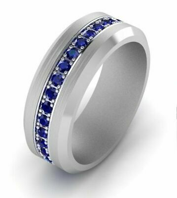 1Ct Round Cut Blue Sapphire Engagement Wedding Band Ring 14k White Gold Over