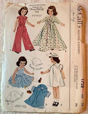 "RARE Vtg 29/"" 30/"" 31/"" Betsy McCall Doll Clothes Pattern ~ Wedding Dress Pajamas"