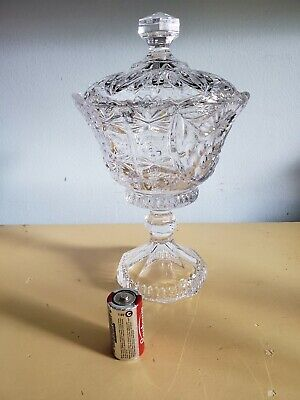 "Crystal Glass Footed Tall 9"" H Candy Dish  with Lid"