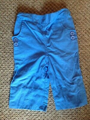 Jojo Maman Bebe girls blue cotton summer trousers age 2-3 years