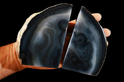 """Agate Geode Bookend 6 1/2"""" 3 Lb Polished Rock Mineral Chakra Healing Crystal"""
