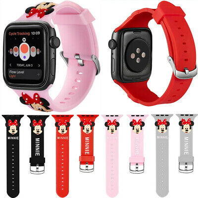 Cute Minnie Mouse Silicone Sport Band For Apple Watch Series 5 4 3 2 Wrist Strap