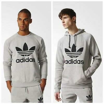 Adidas Original Men's Trefoil Heather Grey Hoodie and Crew Neck Sweat Shirt