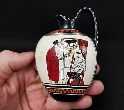 Antique Greek Pottery Souvenir detail of a Skyphos Hand Painted & Signed