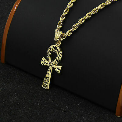 """Egyptian Ankh Gold Plated Hip-Hop Pendant 30"""" Rope Chain Necklace D840"""