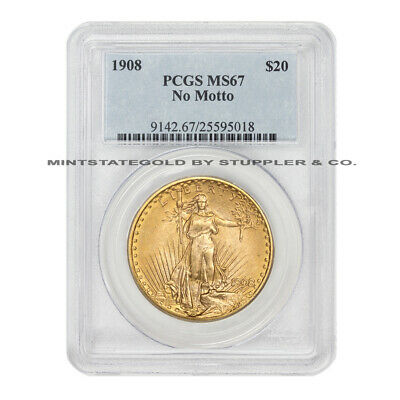 1908 $20 Saint Gaudens PCGS MS67 NM No Motto gem Gold Double Eagle coin