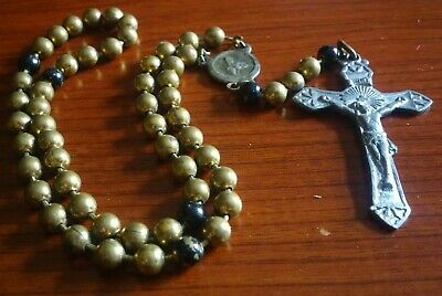 "Rosary Pull Chain Ww1 Authentic ""prototype"" Military Catholic Religious Crucifix"