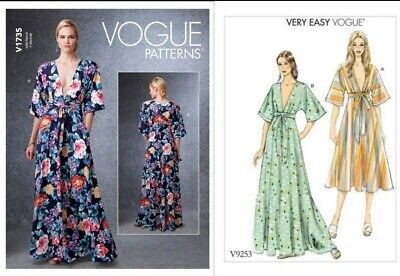 Vogue Sewing Pattern 9253 Misses 16-26 Easy Dress Deep-V Kimono Style Self Ties
