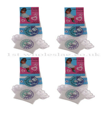 3 and 6 Pairs Girls Frilled School Socks for Kids Frilly Lace Ankle White Colour